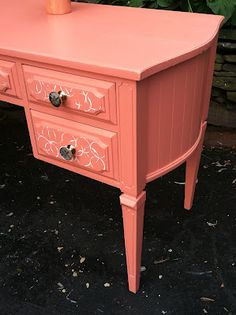 Embracing Change. Tons of ideas for updating old furniture into fun new pieces! idea, old furniture, color, writing desk, furnitur redo, embrac chang