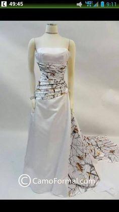 White and white camo wedding dress