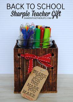 Back to School Sharpie Teacher Gift - LOVE that DIY ruler mason jar caddy & cute saying!