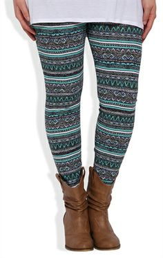 Deb Shops Plus Size #Legging with #Mint and #Coral #Tribal Print  $12.67