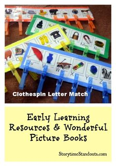 Storytime Standouts colorful homemade letter matching activity also helps children improve their fine motor skills.