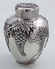 Japanese silver tea caddy