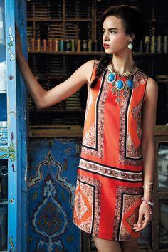 Killer color pallet. Canna Shift dress - orange motif