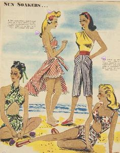 Wonderful beach fashions from The Australian Women's Weekly, 1945. #vintage #1940s #summer #fashion #playsuits