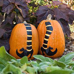 For a fun #Halloween pumpkin, decorate tall pumpkins with witch legs. Instructions: http://www.bhg.com/halloween/pumpkin-carving/halloween-witch-dance-pumpkin/?socsrc=bhgpin083112witchlegspumpkin