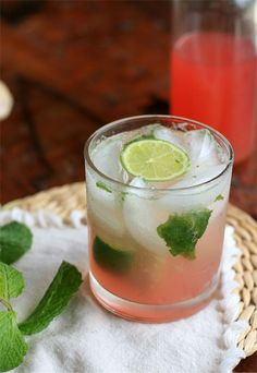Rhubarb and Ginger Mojito. Will have I make this with basil, but mmmm by girlcooksworld #Cocktail #Mojito #Rhubarb #Ginger