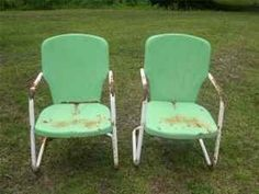 outdoor chairs like this, often rusted a bit..