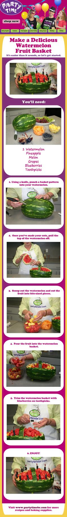 How to make a delicious watermelon fruit basket in six easy steps...