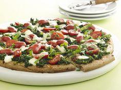 Spinach and Marinated Tomato Pizza tomato pizza, dinner idea, food, pizzas, healthi, spinach, tomato recip, tomatoes, marin tomato