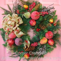 Christmas Orchard Wreath - 2012 - #ChristmasWreaths #XmasWreaths #Wreaths #OrchardWreath #FruitWreath
