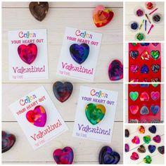 crayon card, craft kids, wine bottl, valentine day crafts, valentine day cards, diy valentine's day, craft gifts, valentine day gifts, heart crayon