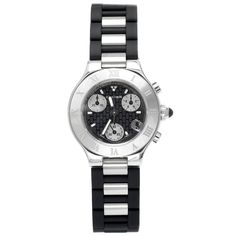 Cartier Women's W10198U2 Must 21 Chronoscaph Stainless Steel and Black Rubber Chronograph Watch: Watches