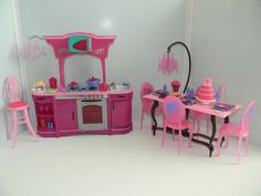 Barbie Doll House Furniture Glam Kitchen Lot Playset-Kitchen, Table, Chairs
