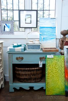 Salvaged Inspirations | Featuring Pleasant Pickin's Open House | Chalk Painted Blue Night Stand