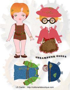 paper peopl, steampunk paper, paper dolls, steampunk salli, paperdol printabl, papers, steampunk machin, salli steampunk