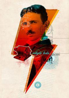 'Nikola Tesla', art print by Oscar Matamora  on artflakes.com
