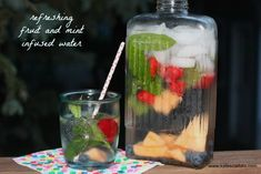 fruit and mint infused water