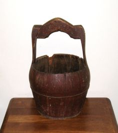 1800s Chinese Wooden Well Water Bucket  Staved by CookieGrandma60, $95.00