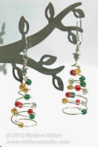 These whimsical earrings are perfect for the holidays, but rest assured that the Spiral Evergreen Earrings are as long-lasting as their name. These DIY earrings are a great way to use up spare beads and small amounts of wire.