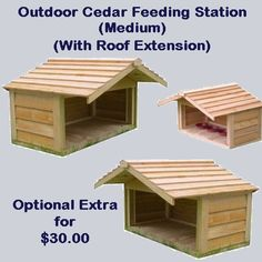 Outdoor Cedar Feeding Station - Medium. The Outdoor Cedar Feeding Stations are the perfect solution for keeping your animals food clean and dry. Whether you have one animal or many we have the solution with three different sizes to choose from. Our feeding stations are made from the same high quality materials and workmanship as our insulated cedar houses so you are guaranteed a great product. Price $185.00 #outdoorcathouse #outsidecathouse #catoutsidehouse #cat #outdoor #outside #house