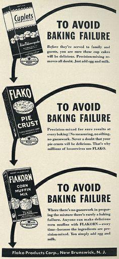 Flako Baking Products ad, 1941. #vintage #1940s #food #ads
