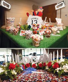 Baseball Birthday - love the idea of astro turf on the table!   (Jamie - look at the names!!!!!!)