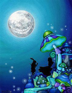 Alice in Wonderland - LARGE FORMAT - Cheshire Cat Rabbit Moon Garden Modern Home Wall Art