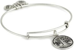 "Alex and Ani Bangle Bar ""Tree of Life"" Russian-Silver Expandable Bracelet Alex and Ani. $28.00. Made out of recycled materials Made in USA. Russian silver. Alex and Ani patented expandable wire bangle concept allows the wearer to adjust the bangle for a perfect fit. Made out of recycled materials. Adjusts to 3.25 inches in diameter"