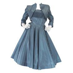 1stdibs | 1950s Ice Blue Silk Taffeta Dress & Jacket