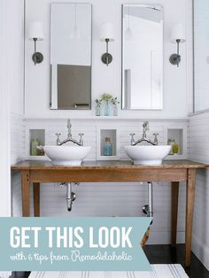 White Bathroom with Built-In Wall Storage | Remodelaholic.com #bathroom #moodboard #inspiration