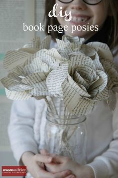 Book Page Flower Bouquet Teacher Appreciation Gift by Mom advice | Skip To My Lou