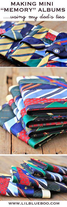 How to make mini memory albums using upcycled ties (from my Dad's ties!) via lilblueboo.com #diy #tutorial #ties
