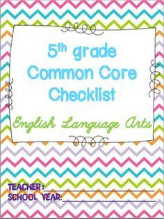 5th grade common core standards checklist for ELA!