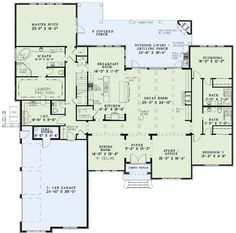 This really is the perfect floor plan! LOVE THIS!! Change the bathrooms inbetween the rooms to a jack and jill and the garage towards the back instead of the front