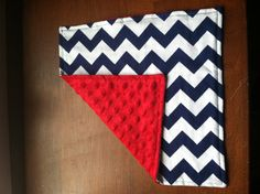 Blue Chevron and Red Minky Cuddle Blanket by AhoyBabee on Etsy, $10.00
