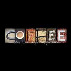COFFEE   Mini Wood Photo Letter Art Sign  - Photo Letter Art, Coffee Shop Decor