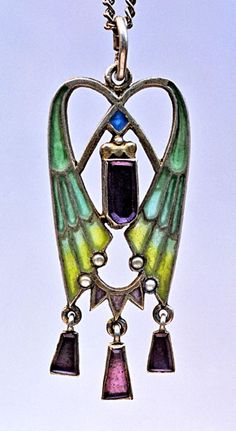 This is not contemporary - image from a gallery of vintage and/or antique objects. JUGENDSTIL Pendant Silver Plique-à-jour enamel Amethyst