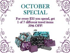"""A sneak peek at Octobers """"spooktacular"""" monthly special...for every $35 you spend pick selected travel products for 50% off!! www.mythirtyone.com/Annapayne"""