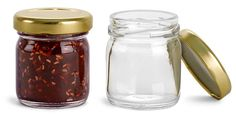 SKS Bottle & Packaging, Glass Jars, Glass Jars, Clear Glass Jelly Jars with Gold Lug Caps