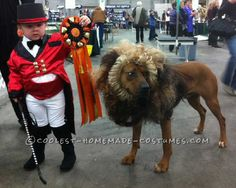 Cool Boy and Pet Dog Costume: Lion Tamer and Lion… Coolest Halloween Costume Contest