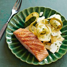 Grilled Salmon with Squash Ribbon Salad is dinner in a snap!