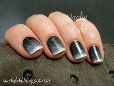 White to black gradient nails