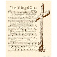 OLD RUGGED CROSS --- 8 x 10 Antique Hymn Art Print on Parchment on Etsy, $5.00