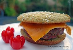 Gourmet Girl Cooks: Easy Taco Burgers w/ Chipotle Cheddar Cheese on Sesame Seed Buns - Simple & Low Carb