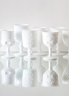 Vintage white milk glass from Casa de Perrin - LA wedding decor rental #dreamdigs milk glass