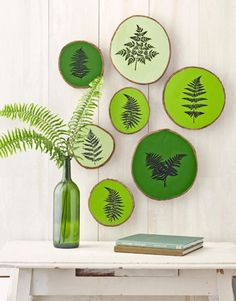 Fern Painted Wood Slices- bringing the spring forest into your home #OcadoSpringHome