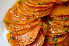 Candied Lime Sweet Potatoes. I love how they are sliced super thin and are crispy around the edges.
