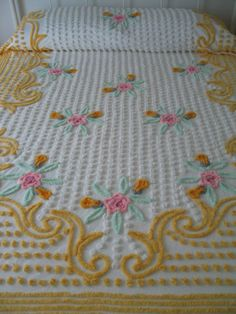 CHENILLE BEDSPREAD, VINTAGE, Yellow, White, Pink, Green, Floral, Full Or Queen, Gorgeous.. $249.00, via Etsy.
