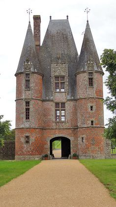 Gatehouse of Le Chateau de Carrouges, a medieval fortress in Carrouges, France