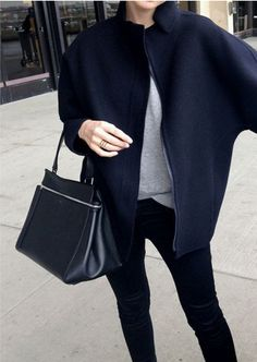 minimal fashion, capes, statement outerwear, street styles, fall jackets, black, bags, coat, leather purses